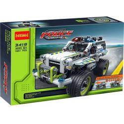 Lego Technic 42047 Decool 3418 Police Interceptor Xếp hình xe cảnh sát đánh chặn kéo thả 185 khối