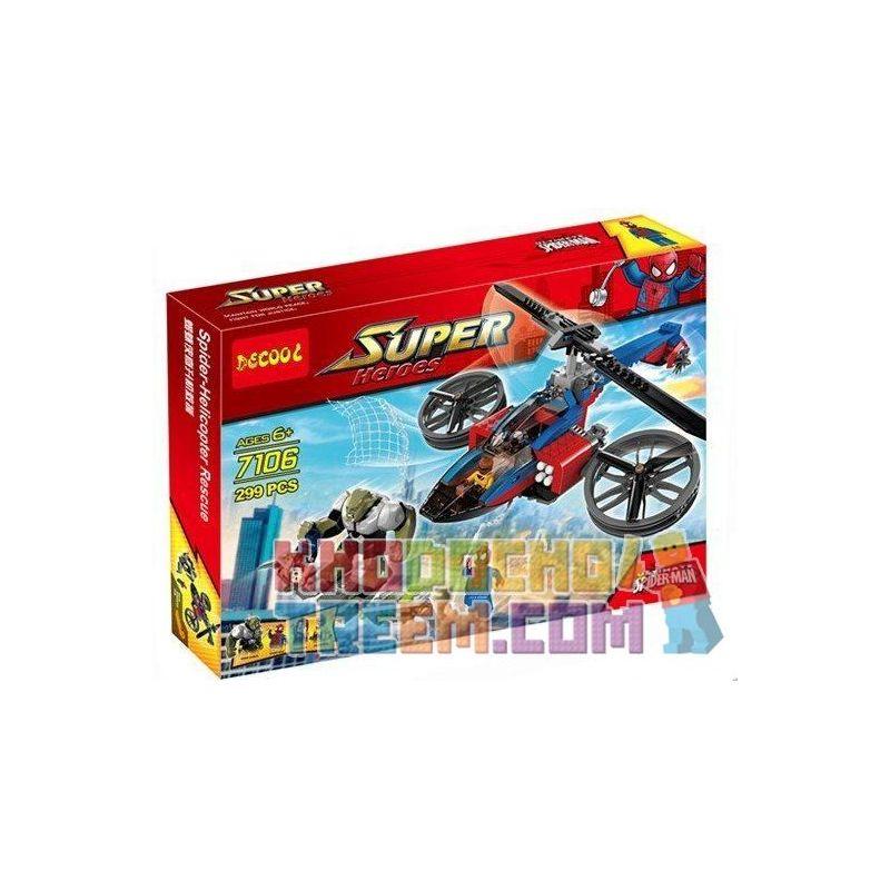 Decool 7106 Bela 10240 Sheng Yuan SY315 Super Heroes 76016 Spider-Helicopter Rescue Xếp hình trực thăng giải cứu người Nhện 299 khối