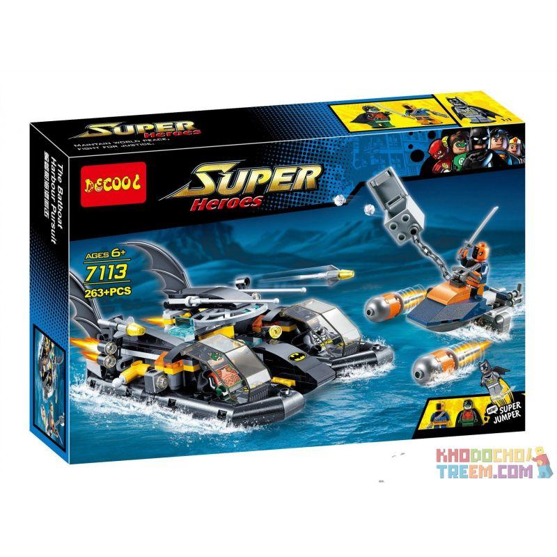 Decool 7113 Sheng Yuan 510 SY510 (NOT Lego DC Comics Super Heroes 76034 Batboat Harbor Pursuit ) Xếp hình Tàu Cao Tốc Của Người Dơi Truy Đuổi Kẻ Thù 264 khối