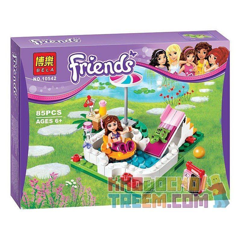 Bela 10542 Friends 41090 Olivia's Garden Pool Xếp hình bể bơi trong vườn nhà Olivia 85 khối