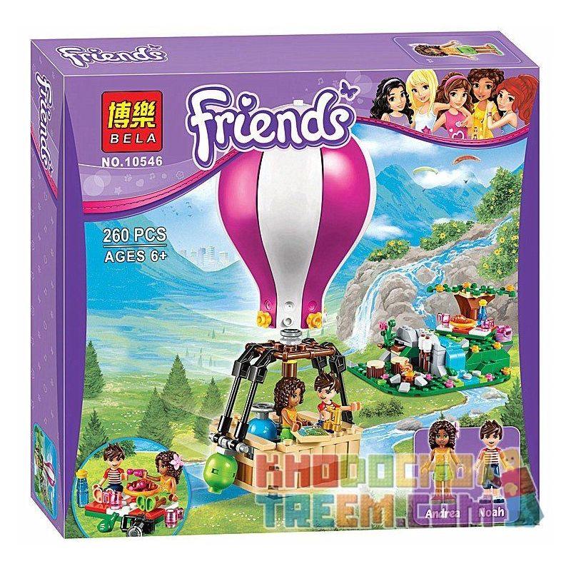 Bela 10546 Lele 79166 (NOT Lego Friends 41097 Heartlake Hot Air Balloon ) Xếp hình Dạo Chơi Khinh Khí Cầu Hồ Trái Tim 260 khối