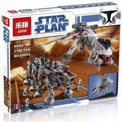 Lepin 05053 Star Wars 10195 Republic Dropship with AT-OT Walker Xếp hình phi thuyền vận tải thả tàu đi bộ AT-OT 1788 khối