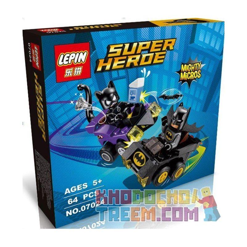 Lepin 07024 Super Heroes 76061 Mighty Micros: Batman vs. Catwoman Xếp hình người Dơi đại chiến Miêu nữ 92 khối