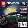 Lego Creator Exclusives 10194 Lepin 21005 Emerald Night Train Xếp hình tàu hỏa xanh ngọc lục bảo chở khách có thể gắn động cơ pin 1085 khối