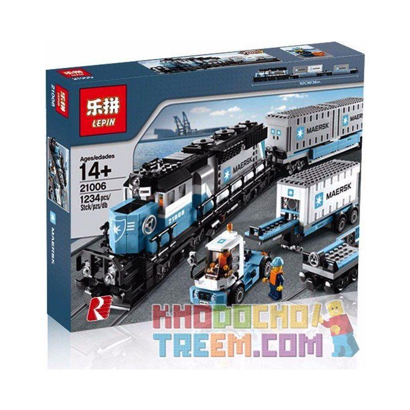 Lepin 21006 (NOT Lego Creator Exclusives 10219 Maersk Train ) Xếp hình Tầu Hỏa Maersk Có Thể Lắp Động Cơ Pin 1237 khối