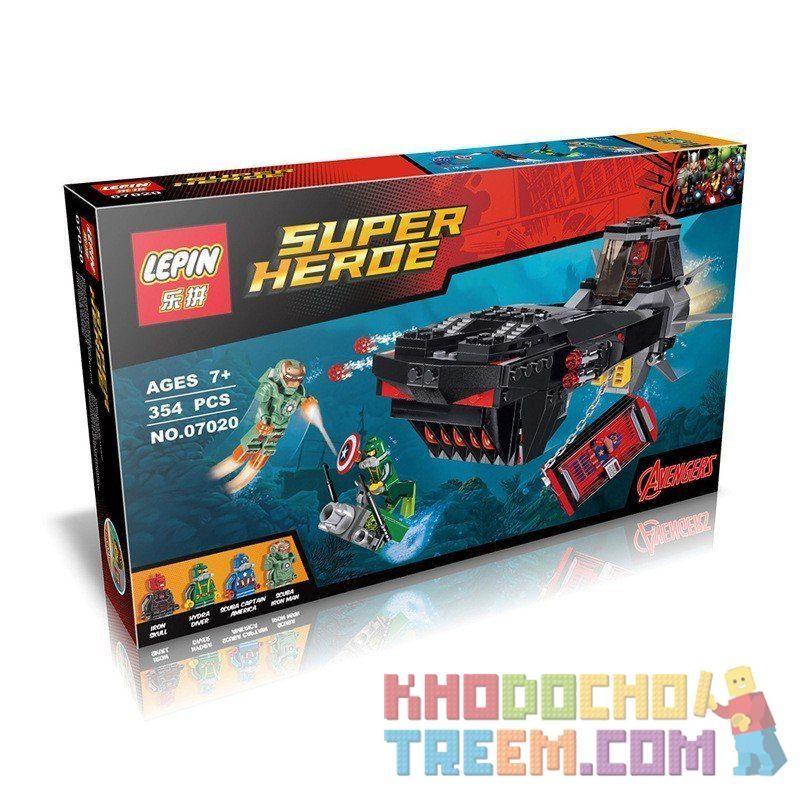 Decool 7119 Lepin 07020 Sheng Yuan 577 SY577 (NOT Lego Marvel Super Heroes 76048 Iron Skull Sub Attack ) Xếp hình Cuộc Tấn Công Của Phi Thuyền Đầu Lâu Sắt 335 khối