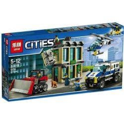 Lepin 02019 Lele 39055 City 60140 Bulldozer Break-In Xếp hình Cướp Tiền Nhà Băng Bằng Xe Ủi 606 khối