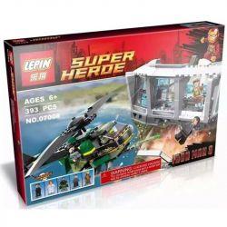 Lepin 07008 Super Heroes 76007 Iron Man: Malibu Mansion Attack Xếp hình Tấn công biệt thự Malibu của người Sắt 393 khối