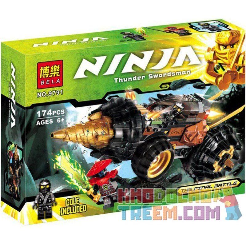 Bela 9791 Lele 79116 (NOT Lego Ninjago Movie 70502 Cole'S Earth Driller Final Battle ) Xếp hình Xe Chiến Đấu Máy Khoan Của Cole 174 khối