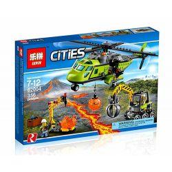 Lepin 02004 Bela 10640 (NOT Lego City 60123 Volcano Supply Helicopter ) Xếp hình Trực Thăng Tiếp Tế Trạm Nghiên Cứu Núi Lửa 356 khối