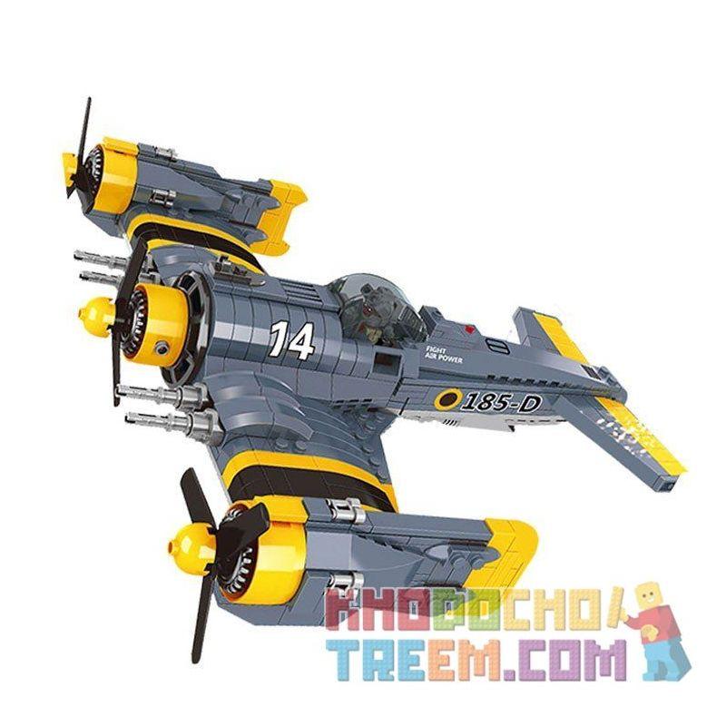 Lego Military Army MOC Lepin 22021 Fighter Plane Xếp hình Máy bay chiến đấu cánh quạt 572 khối