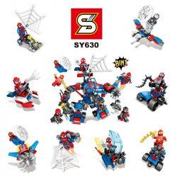 Lego Super Hero MOC Sheng Yuan SY630 civil war spider-man back to school season eight-in-one Xếp hình 8 bộ xếp hình nhỏ chủ đề người Nhện kết hợp thành robot lớn 214 khối