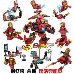 Lego Super Hero MOC Sheng Yuan SY624 Iron Man fit anti-hoke eight-in-one Xếp hình 8 bộ xếp hình Người Sắt nhỏ 298 khối
