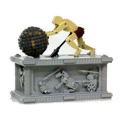 Lepin 23017 Creator Sisyphus Dynamics Sculpture Xếp hình Lực Sỹ Đẩy Đá Lăn Động Cơ Pin 1462 khối
