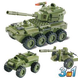 Woma J5821 (NOT Lego Military Army 3 In 1 Armoured Car ) Xếp hình 3 Mẫu Thiết Bị Quân Sự 203 khối