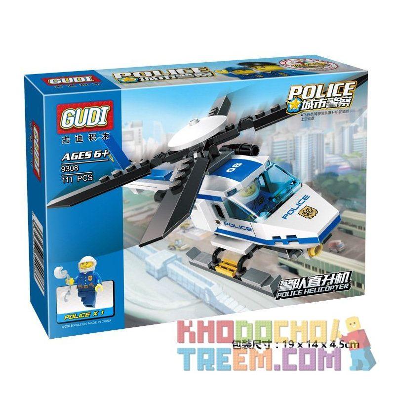 Xinlexin Gudi 9308 (NOT Lego City Police Helicopter ) Xếp hình Trực Thăng Cảnh Sát 111 khối