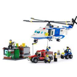 Gudi 9319 City Police Helicopter Xếp Hình Trực Thăng Cảnh Sát Phối Hợp Mô Tô 4 Bánh 628 Khối