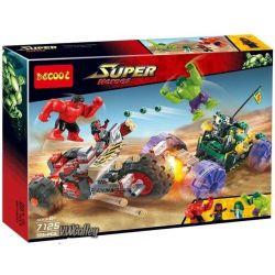 Decool 7125 Bela 10675 (NOT Lego Marvel Super Heroes 76078 Hulk Vs Red Hulk ) Xếp hình Hulk Đại Chiến Hulk Đỏ 375 khối