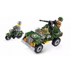 Lego Military Army MOC Enlighten 1703 Motorcycle Car Xếp hình Xe máy quân sự 100 khối