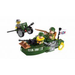 Lego Military Army MOC Enlighten 1701 Beach Invasion Xếp hình Phòng thủ bờ biển 99 khối