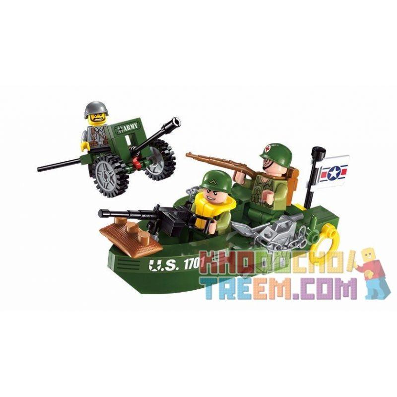Enlighten 1701 (NOT Lego Military Army Beach Invasion ) Xếp hình Phòng Thủ Bờ Biển 99 khối