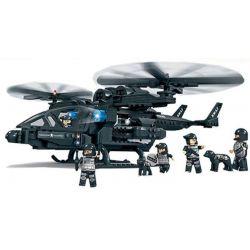 Woma C0531 Ultra Agents MOC SWAT Falcon Armed Helicopter Xếp hình Trực thăng tấn công của lực lượng đặc nhiệm 542 khối