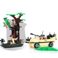 Lego Military Army MOC Enlighten 813 Amphibian Vehicle Xếp hình Chiến đấu trên đầm lầy 272 khối