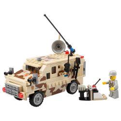 Lego Military Army MOC Kazi KY84024 Scout Car Xếp hình Xe hummer chở lính 219 khối