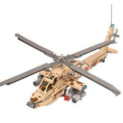 Lego Military Army MOC Kazi KY84020 Boeing AH-64 Apache Xếp hình Trực thăng chiến đấu 670 khối