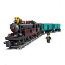 Lego Creator MOC Gao Bo Le GBL KY98103 Yue Jin Train Xếp hình Tàu hỏa hơi nước chở hàng có ray động cơ pin sạc 821 khối