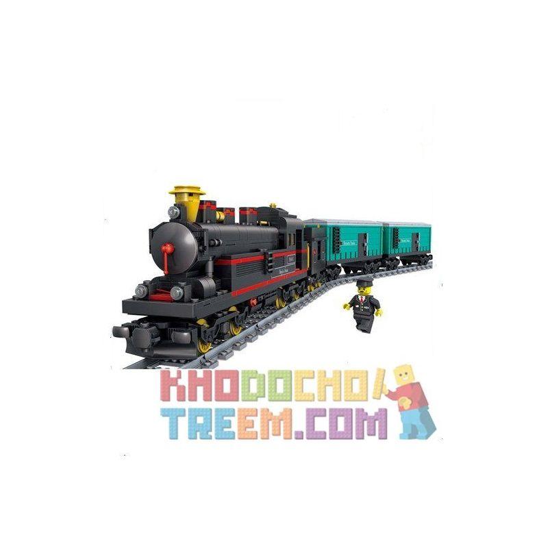Lego Creator MOC Gao Bo Le - GBL KY98103 Yue Jin Train Xếp hình Tàu hỏa hơi nước chở hàng có ray động cơ pin sạc 821 khối