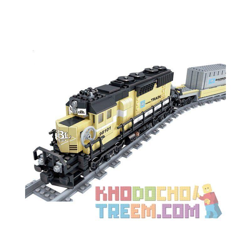 Lego Creator 10219 Gao Bo Le - GBL KY98101 Maersk Container Train Xếp hình tàu hỏa chở container có ray động cơ pin sạc 885 khối