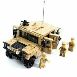 Lego Military Army MOC Gao Bo Le GBL KY98403 Mummer H1 Xếp hình Xe Humvee bọc thép 420 khối