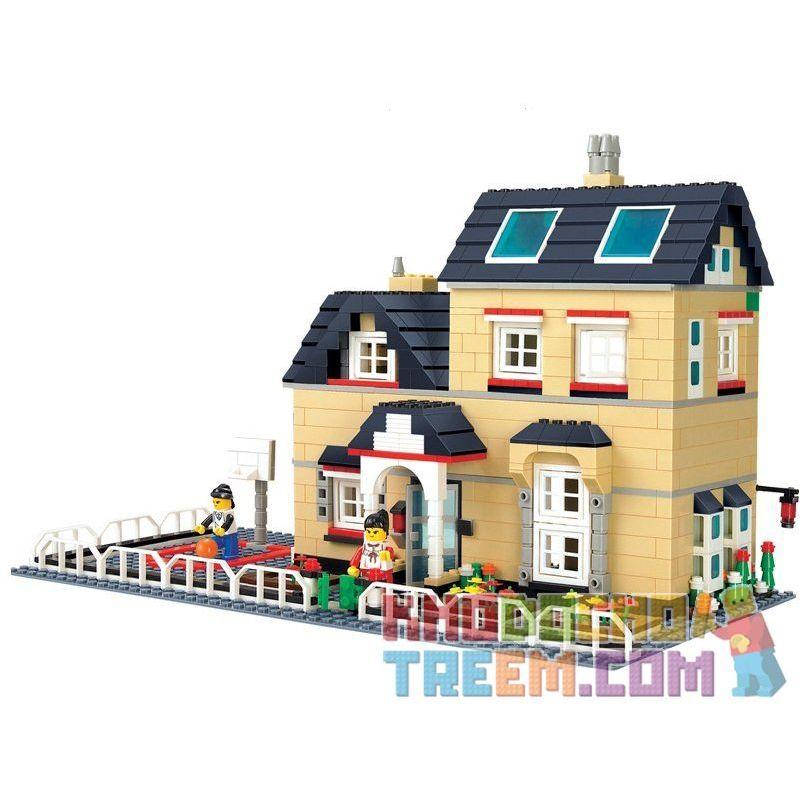 Wange 34052 Creator MOC Villa Xếp hình Biệt thự có sân bóng rổ 755 khối