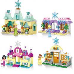 Lele 37004 Disney Princess MOC Anna Ariel Cinderella 4 in 1 Xếp hình Nữ hoàng băng giá Nàng tiên cá Nàng Bạch Tuyết 4 trong 1 393 khối