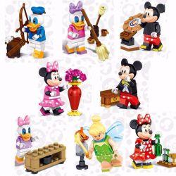 Lele 37005 (NOT Lego Disney Princess 71012 8 Disney Minifigures ) Xếp hình 8 Nhân Vật: Vịt Donald, Vịt Daisy, Chuột Mickey, Chuột Minnie, Cô Tiên Thợ Tinker Bell 32 khối