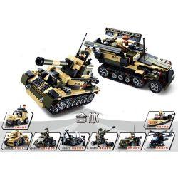 Sluban M38-B0587 M38-B0588 Military Army Tank Or Apc 8 Into 1 Xếp hình Xe Tăng Thiết Giáp 8 Trong 1 928 khối