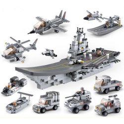 Sluban M38-B0537 Military Army Aircraft Carrier 9 In 1 Xếp hình Tàu Sân Bay 9 Trong 1 1001 khối