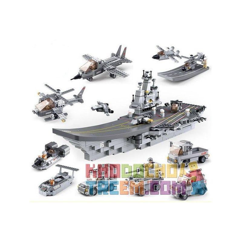 Sluban M38-B0537 (NOT Lego Aircraft Carrier 9 In 1 ) Xếp hình Tàu Sân Bay 9 Trong 1 1001 khối