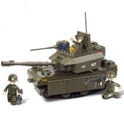 Lego Military Army MOC Sluban M38-B0287 M1A2-Abrams Xếp hình Xe tăng M1A2 215 khối
