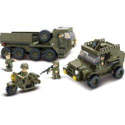 Sluban M38-B0307 Military Army MOC ServiceTroops Xếp hình Xe tải, xe jeep, xe máy chở quân 455 khối
