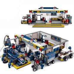 """Lego Speed champion MOC Sluban M38-B0356 F1""""BuleLighening""""MaintenanceStation Xếp hình Xe đua F1 và trạm bảo dưỡng 741 khối"""