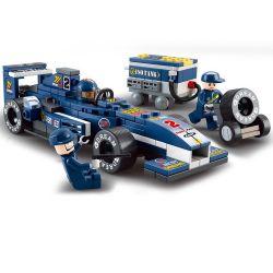 """Sluban M38-B0351 (NOT Lego Speed Champions Racing Car """"Blue Lightning"""" 1:32 ) Xếp hình Xe Đua F1 Tia Sét Xanh Dương Tỉ Lệ 1:32 196 khối"""