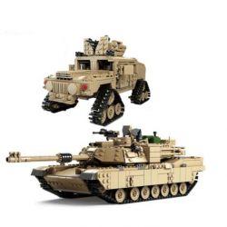 Kazi KY10000 Military Army MOC M1A2 Abrams tank 2 in 1 Xếp hình Xe tăng chủ lực biến hình xe Hummer bánh xích 1463 khối
