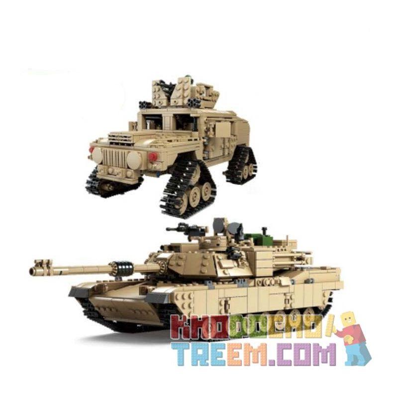 Kazi KY10000 Military Army M1A2 Abrams Tank 2 In 1 Xếp hình Xe Tăng Chủ Lực Biến Hình Xe Hummer Bánh Xích 1463 khối