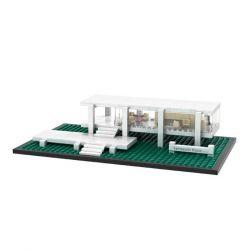 Mini block Architecture MOC Loz 1012 Fransworth House Xếp hình Ngôi nhà Fransworth 386 khối
