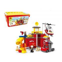 Hystoys Hongyuansheng Aoleduotoys HG-1637B (NOT Lego Duplo Fire Excerters ) Xếp hình Trụ Sở Cứu Hỏa Có Hộp 75 khối