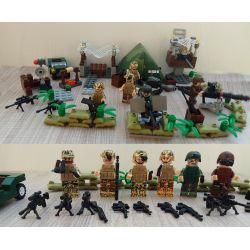 Lego Military Army MOC Decool 2115 2116 2117 2118 2119 2120 Sea island of the island of male soldiers Xếp hình Binh lính biển đảo 192 khối