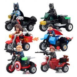 Lego Super Heroes MOC Decool 7008 7009 7010 7011 7012 7013 Captain America, Winter Soldier, Black Panther, Batman, Superman, Wonder Woman motorcycle Xếp hình 6 nhân vật Chiến binh 213 khối