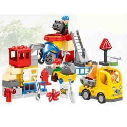 Lego Duplo MOC Huimei HM076 Urban Construction Engineering Team (Small) Xếp hình Đội ngũ kỹ thuật xây dựng đô thị 51 khối